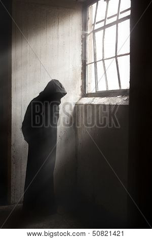Reaper Waiting In A Dark Abandoned Building