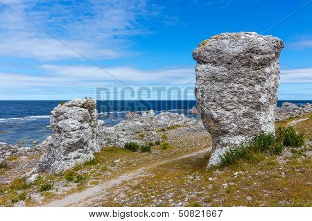 Rock Formations On The Coastline Of Gotland, Sweden