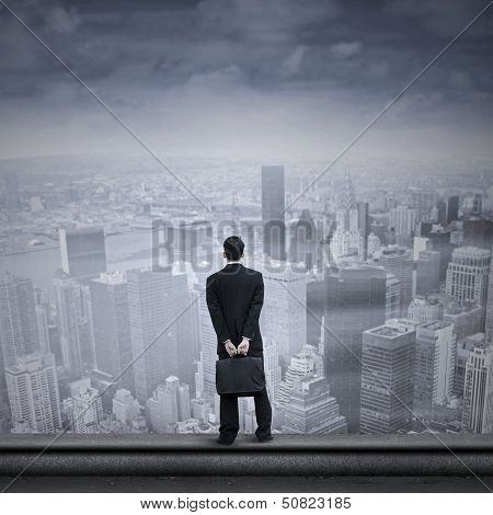 Asian Businessman Looking Into The Future