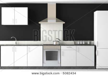 Interior Design Of Modern Black Kitchen