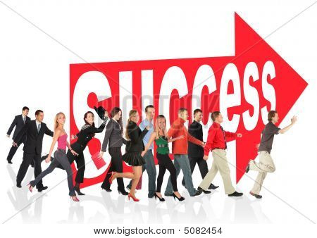 Business Themed Collage People Run To Success Following Arrow Sign