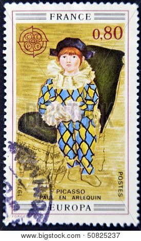 FRANCE - CIRCA 1975: A stamp printed in France shows the work