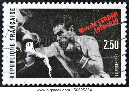 FRANCE - CIRCA 1991: A stamp printed in France shows Marcel Cerdan circa 1991