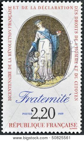 A stamp in commemoration of the bicentennial of the French Revolution and the Bill of Rights