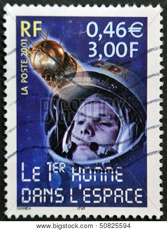 A stamp printed in France shows Yuri Gagarin the first man in