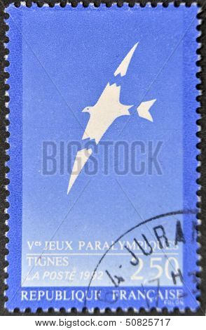 FRANCE - CIRCA 1992: A stamp printed in France dedicated to Paralympic Games circa 1992