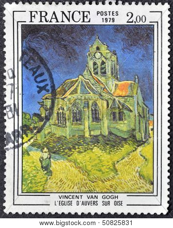 A stamp printed in France shows church of Auvers-sur-Oise by Vincent Van Gogh