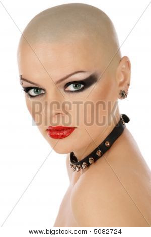 Skinhead Woman With Collar