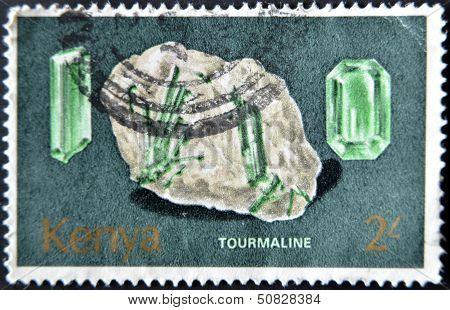 Kenya - Circa 1977: A Stamp Printed In Kenia Shows Minerals Found In Kenya. Tourmeline, Circa 1977