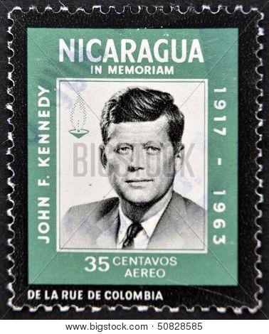 Nicaragua - Circa 1963: A Stamp Printed In Nicaragua Shows John F. Kennedy, Circa 1963