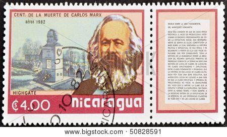Nicaragua - Circa 1982: A Stamp Printed In Nicaragua Shows Marx, Circa 1982