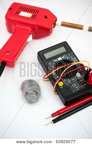 Soldering Tool, Multimeter On White Background