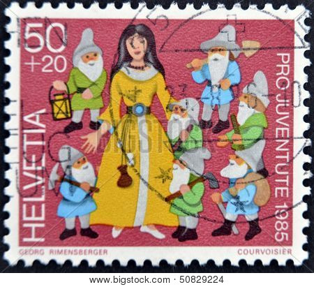 Switzerland - Circa 1985: A Stamp Printed In Switzerland Shows Snow White And The Seven Dwarfs