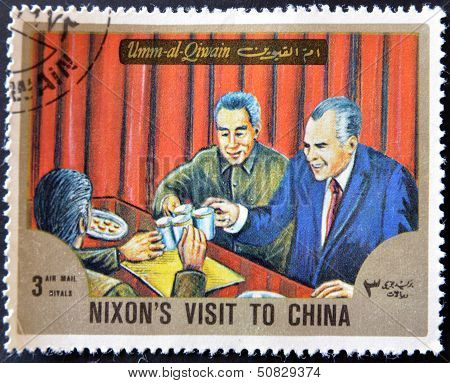 Umm Al Qiwain - Circa 1966: A Stamp Printed In Uaq Shows Nixon?s Visit To China, Circa 1966