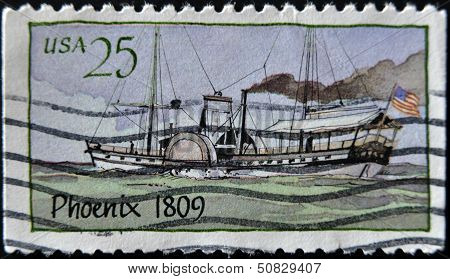 United States - Circa 1989: A Stamp Printed In Usa Shows Steamboat, Circa 1989