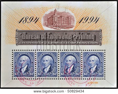 A stamp dedicated to centennial of U.S. postage stamp production shows George Washington