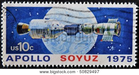 United States - Circa 1975: A Stamp Printed In Usa Shows Space Satellite, Apollo Soyuz, Circa 1975