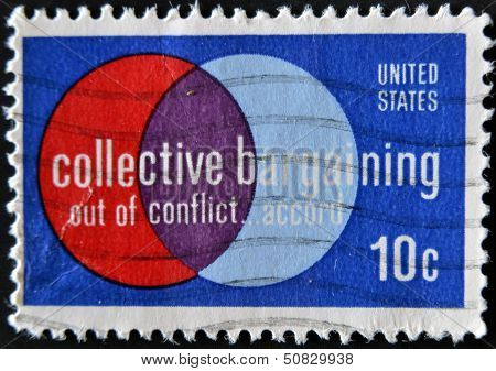 A stamp printed in the USA shows Collective Bargaining: Out of Conflict ... Accord