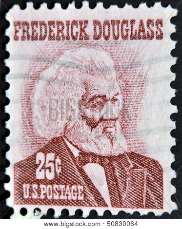 a stamp printed in USA shows Frederick Douglass leader of the abolitionist movement