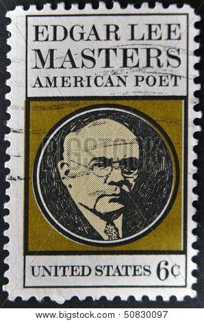 stamp printed in USA shows Edgar Lee Masters
