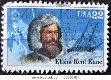 UNITED STATES OF AMERICA - CIRCA 1986: A stamp printed in USA shows Elisha Kent Kane, circa 1986
