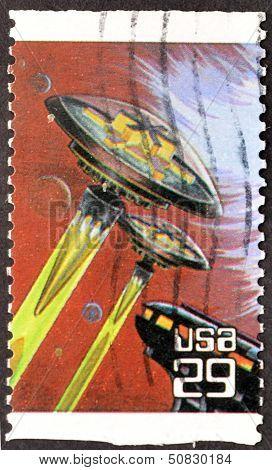United States - Circa 1993: Stamp Printed In Usa Shows Spacecraft, Circa 1993