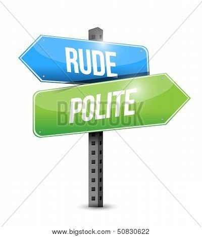 Rude Versus Polite Road Sign Illustration Design