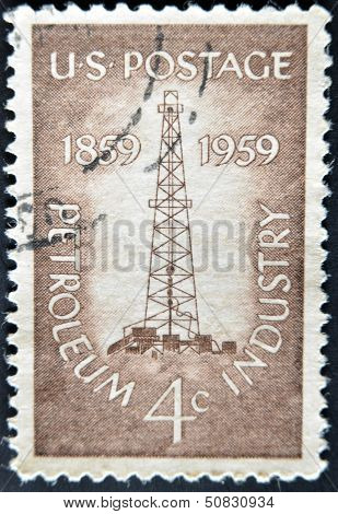 A stamp printed in USA show Petroleum Industry with first oil well at Titusville Pennsylvania