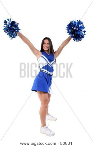Beautiful Cheerleader Teen In Blue And White Colors