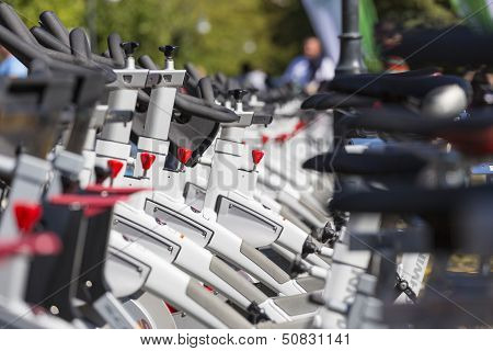 Stationary Spinning Bikes Rows