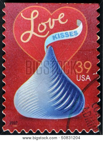 United States Of America - Circa 2007: A Stamp Printed In Usa Dedicated To Love, Circa 2007