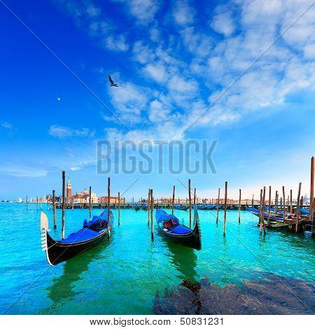 Venice. Gondolas. Canale Della Giudecca. San Giorgio Maggiore. Italy.