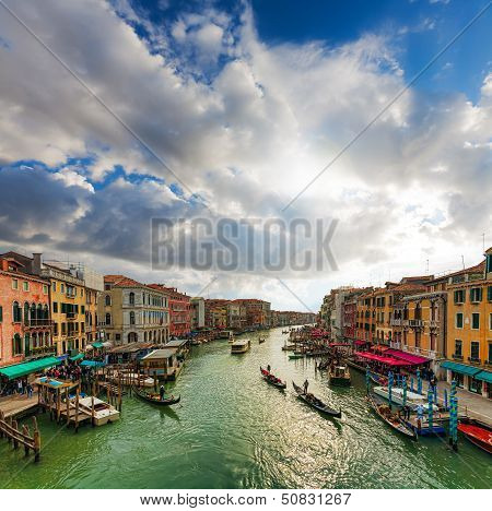 Venice - Gondolas And Boats On The Grand Canal.