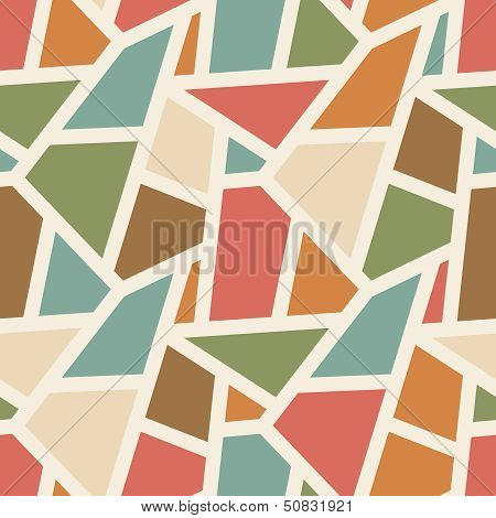 Vector Seamless Geometric Pattern - Simple Abstract Vintage Color Background