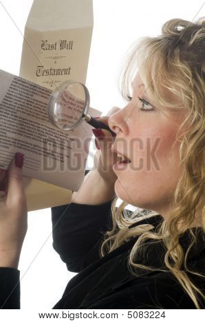Woman Inspecting Document