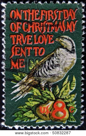 United States - Circa 1971: Stamp Printed In Usa Shows Partridge In A Pear Tree, Circa 1971