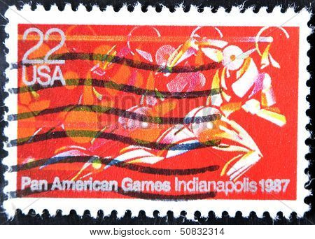 USA - CIRCA 1987: A stamp printed in United States of America shows Runner in full Stride