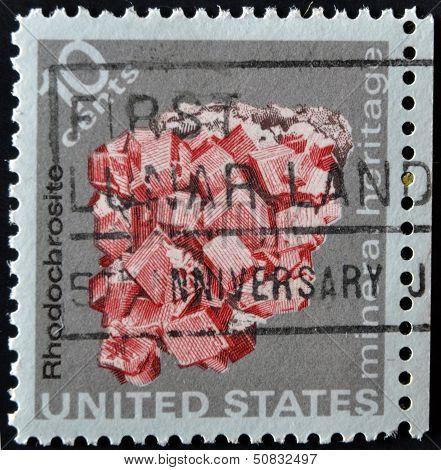 USA - CIRCA 1974: A stamp printed in the USA shows Rhodochrosite mineral heritage circa 1974