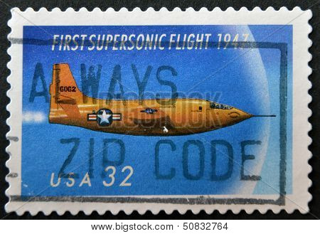 A stamp printed in USA commemorates the 50th anniversary of supersonic flight