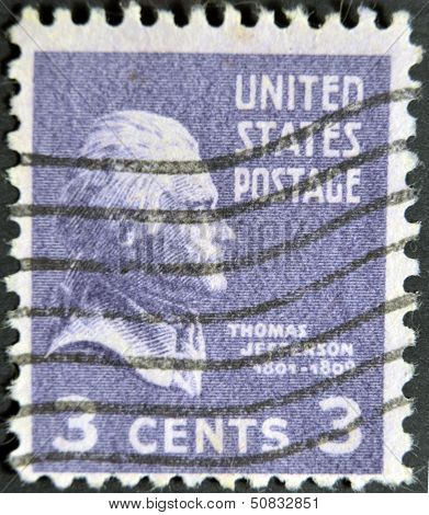 A stamp printed in USA shows portrait Thomas Jefferson President of the United States