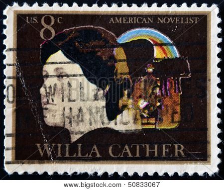 UNITED STATES - CIRCA 1973: stamp printed in USA shows Willa Cather, circa 1973