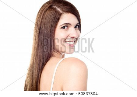 Sensual Woman Wearing A Bright Smile
