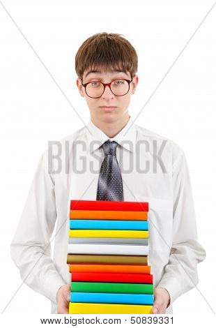 Student Holding Pile Of The Books