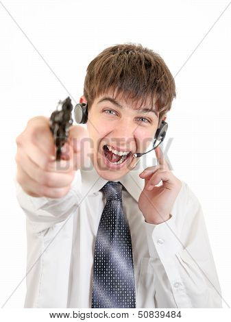 Angry Teenager With Headset And Gun