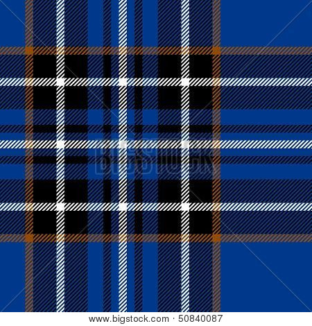 Tartan traditional checkered british fabric seamless pattern, blue and black, vector