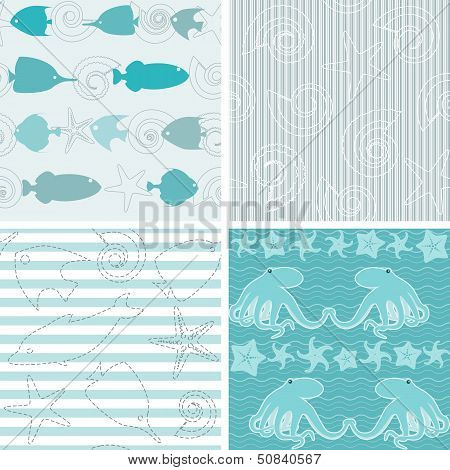 Sea life patterns collection 4