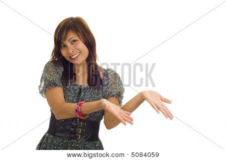 Asian Woman Presenting A Product