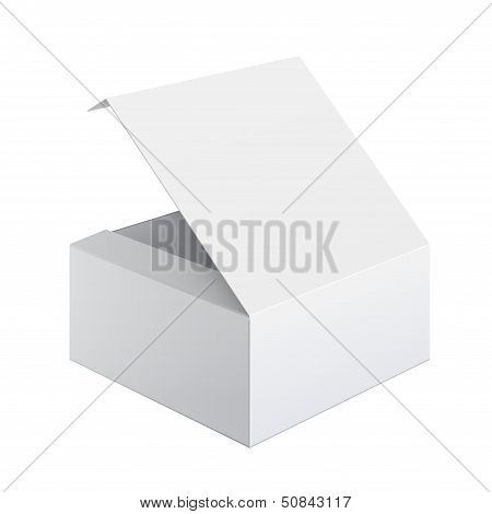 Cool Realistic White Package Box Opened. Square shape. For Software, electronic device and other pro