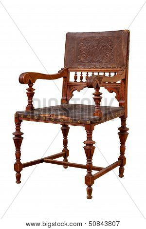 Vintage Wooden Chair Isolated On White