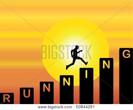A Man Running Up The Stairs Which Are With The Text Running With Bright Orange Evening Sky & Sun